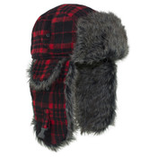 Plaid Trooper Hat with Fur