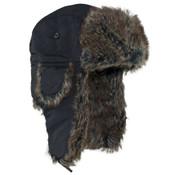 Black Trooper Hat Grey Fur