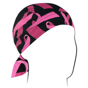 Pink Ribbon Black Flydanna headwrap